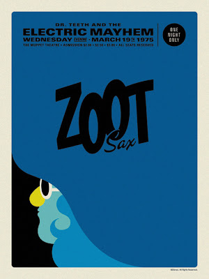 "The Muppets Dr. Teeth and the Electric Mayhem Retro Concert Poster Screen Print Series by Michael De Pippo - ""Zoot: Sax"""