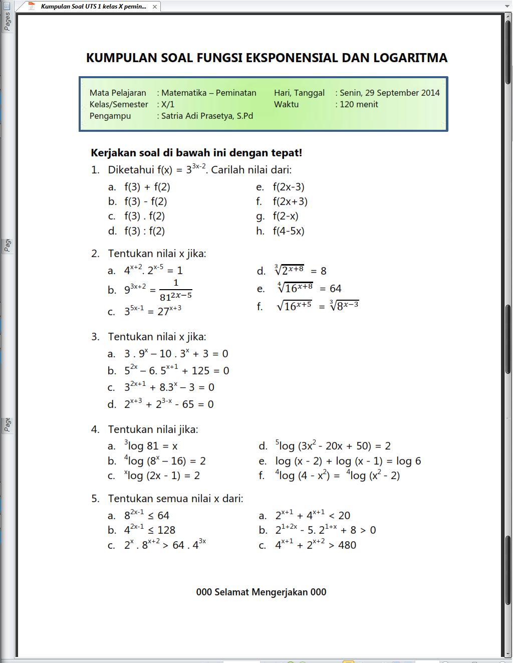 Power Point Matematika Sma Kelas 10