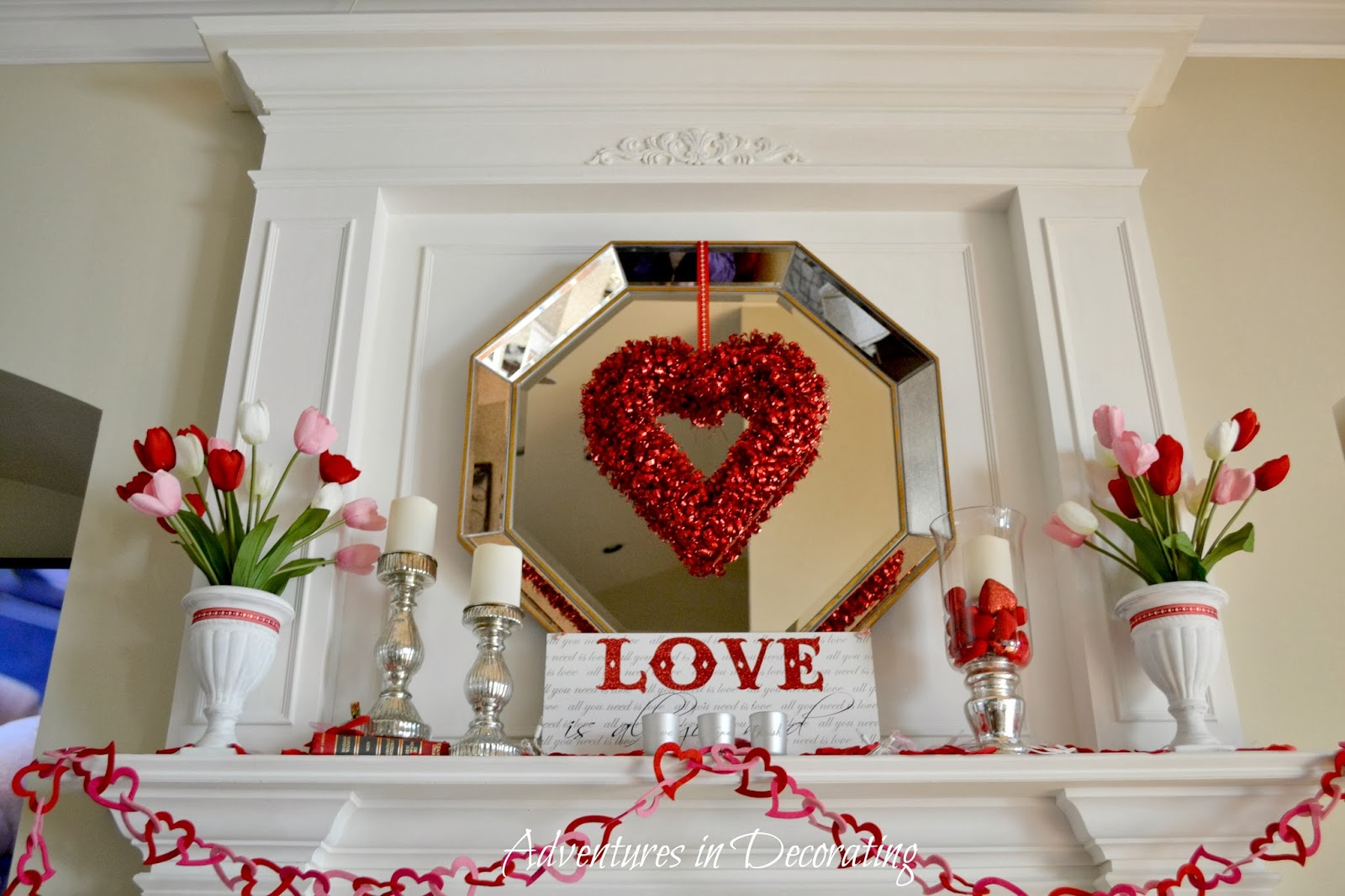 Adventures in decorating our valentine mantel for Valentine decorations to make at home