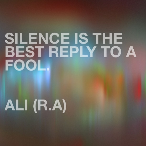 Silence Is The Best Reply To A Fool Islamic Quotes Custom Best Quotes Islamic