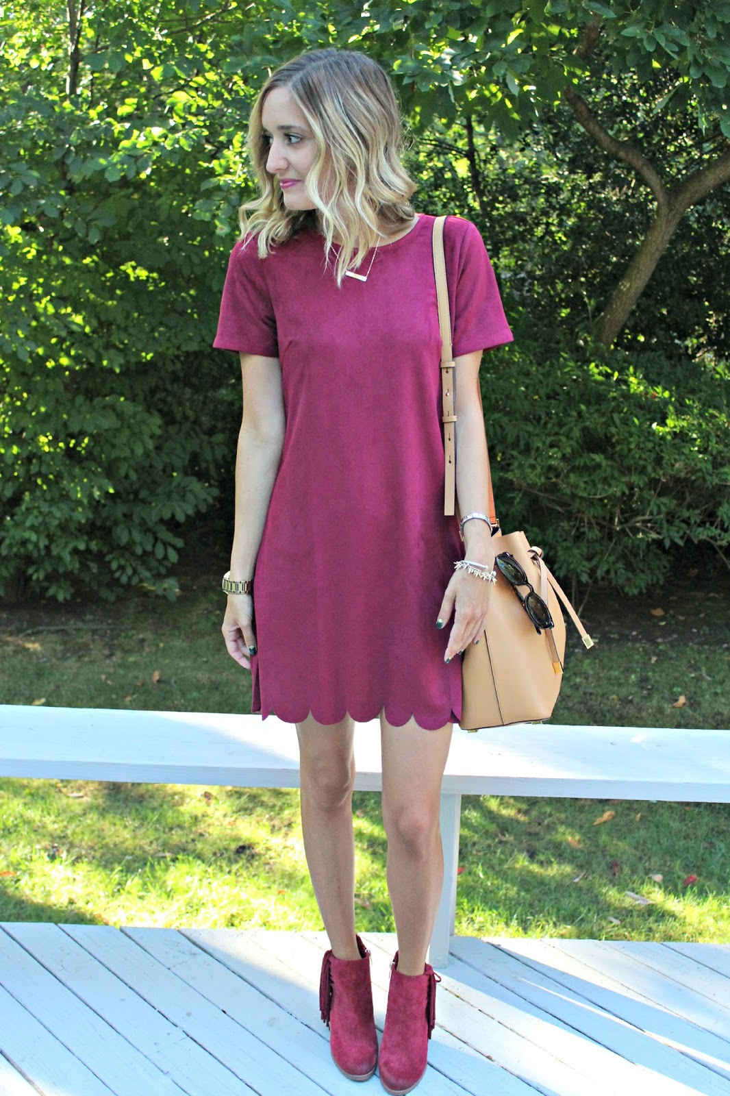 lulu's burgundy suede dress