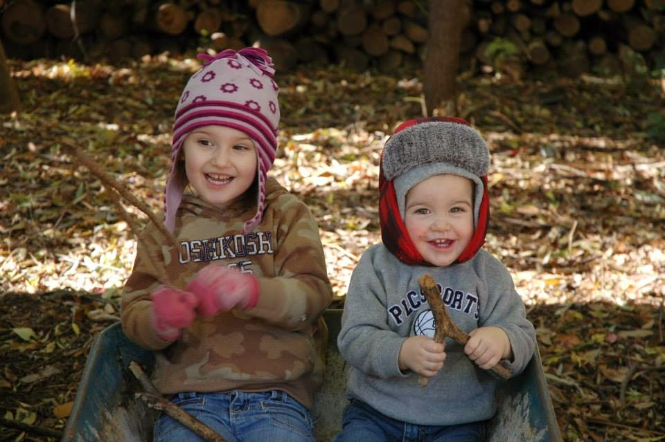 Nora and Neal Wimmer in the Leaves