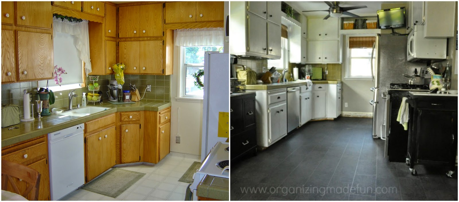 Kitchen before and after::OrganizingMadeFun.com