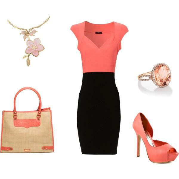 Orange and black gown, high heel sandals, hand bag and other accessories for ladies