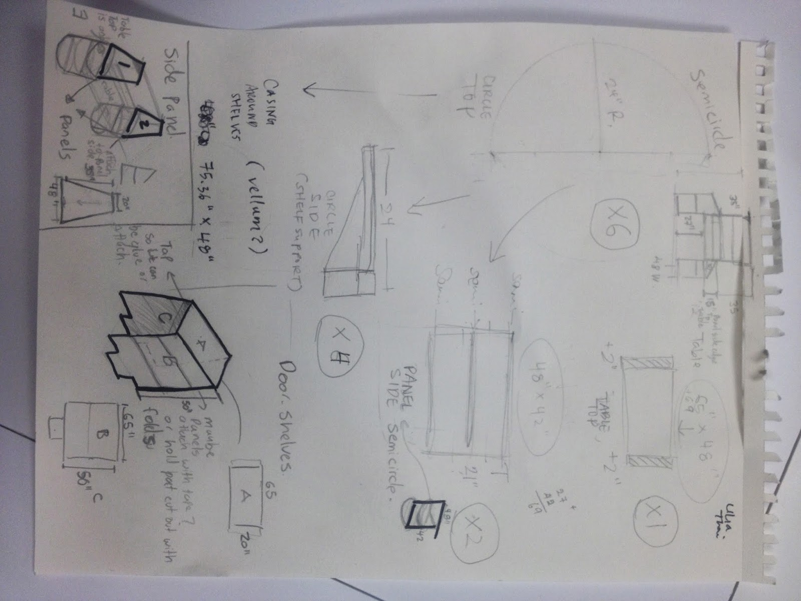A page pinned to the wall filled with sketch ideas towards a model concept.
