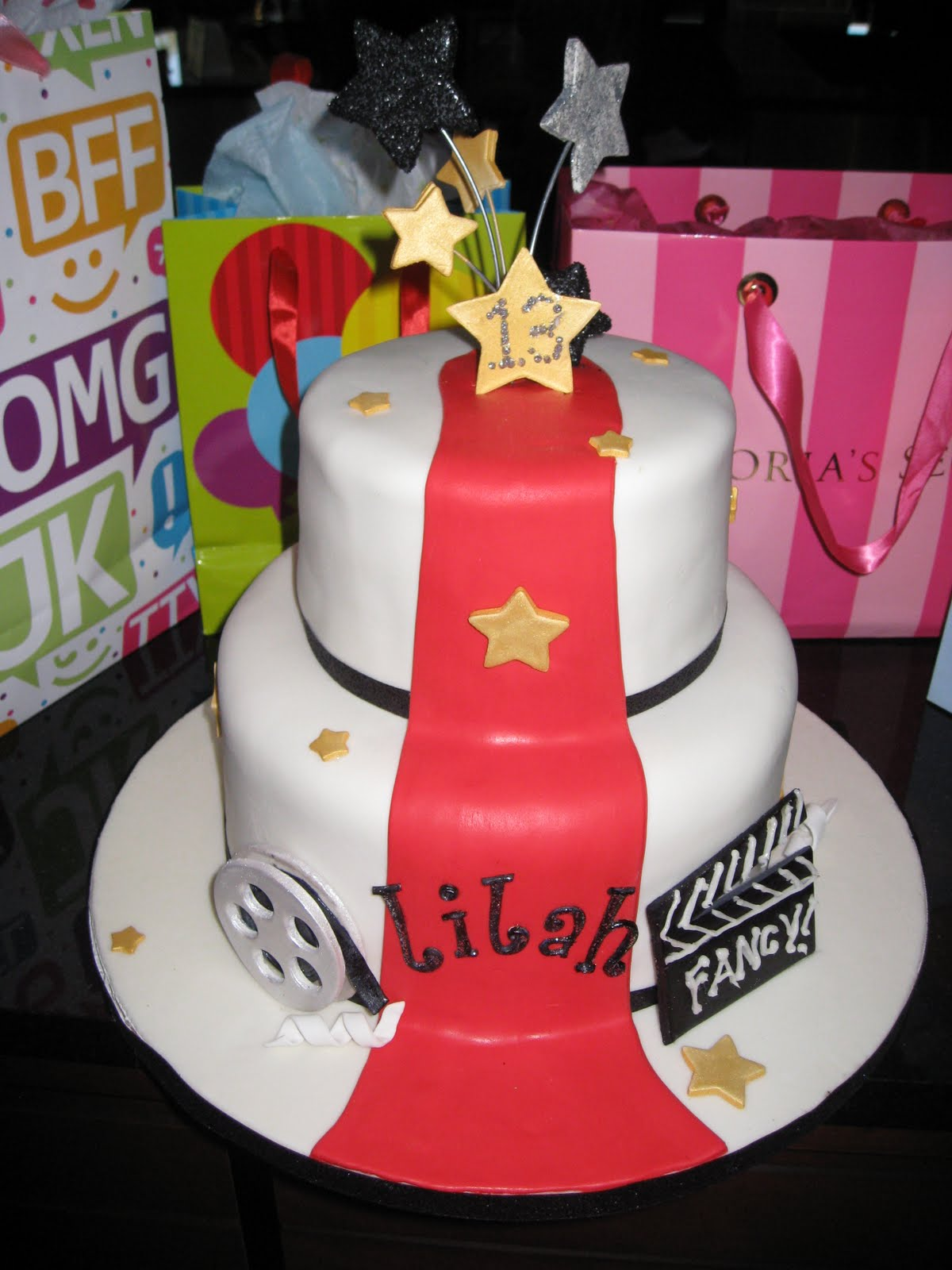 fun cake for a 13-year-old girl's red carpet birthday bash! I am