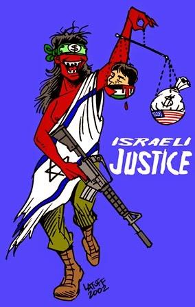 Charge do cartunista Latuff: a justiça israelense