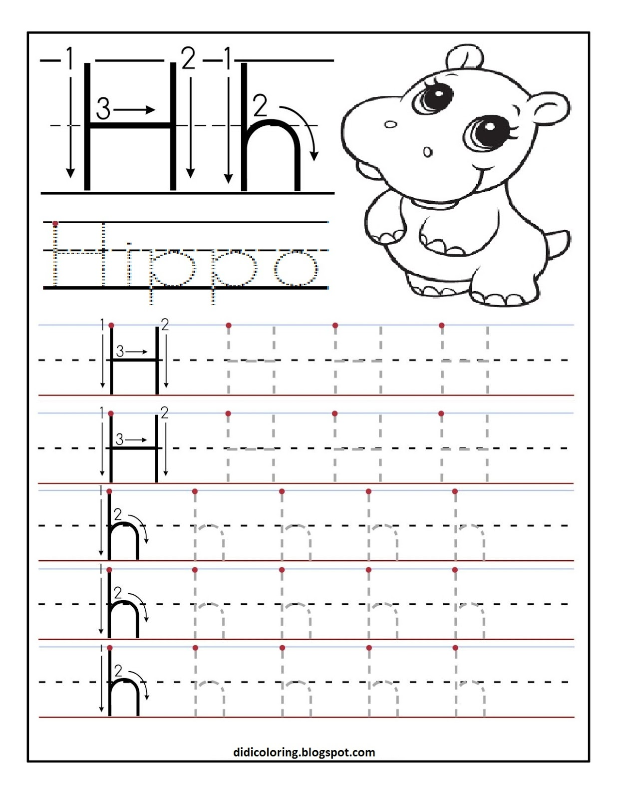 math worksheet : free printable worksheet letter h for your child to learn and  : Learning To Write Worksheets For Kindergarten