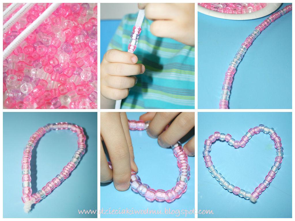 serduszka z koralików i drucików kreatywnych, kreatywna zabawa dla dzieci na walentynki