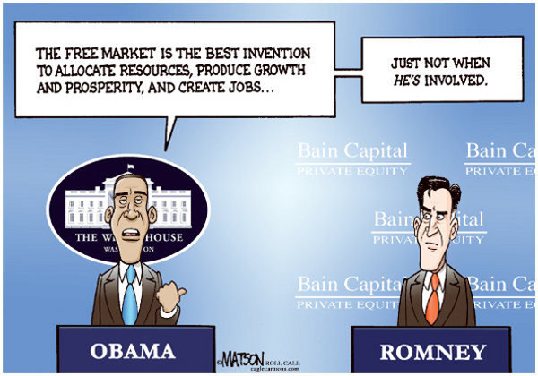Obama vs Romney, First Debate, Political Cartoon