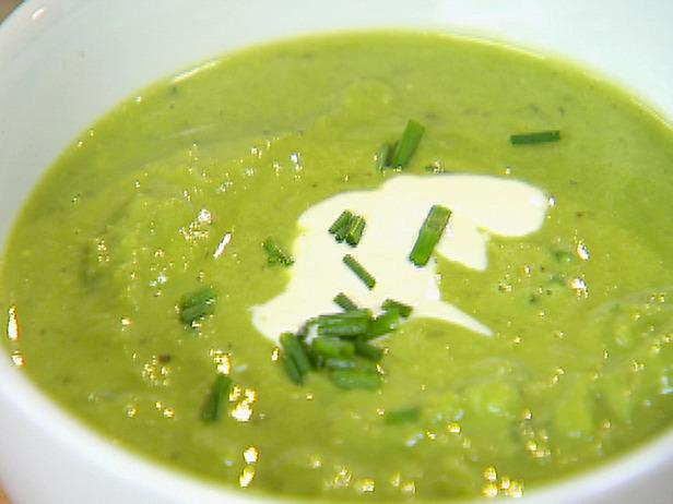 Green-Pea Soup With Cheddar-Scallion Panini Recipes — Dishmaps