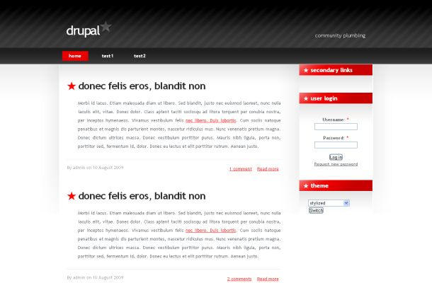 Free Red Black Business Drupal Theme Template