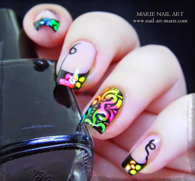 Nail Art Frenh et Arabesques Fluo6