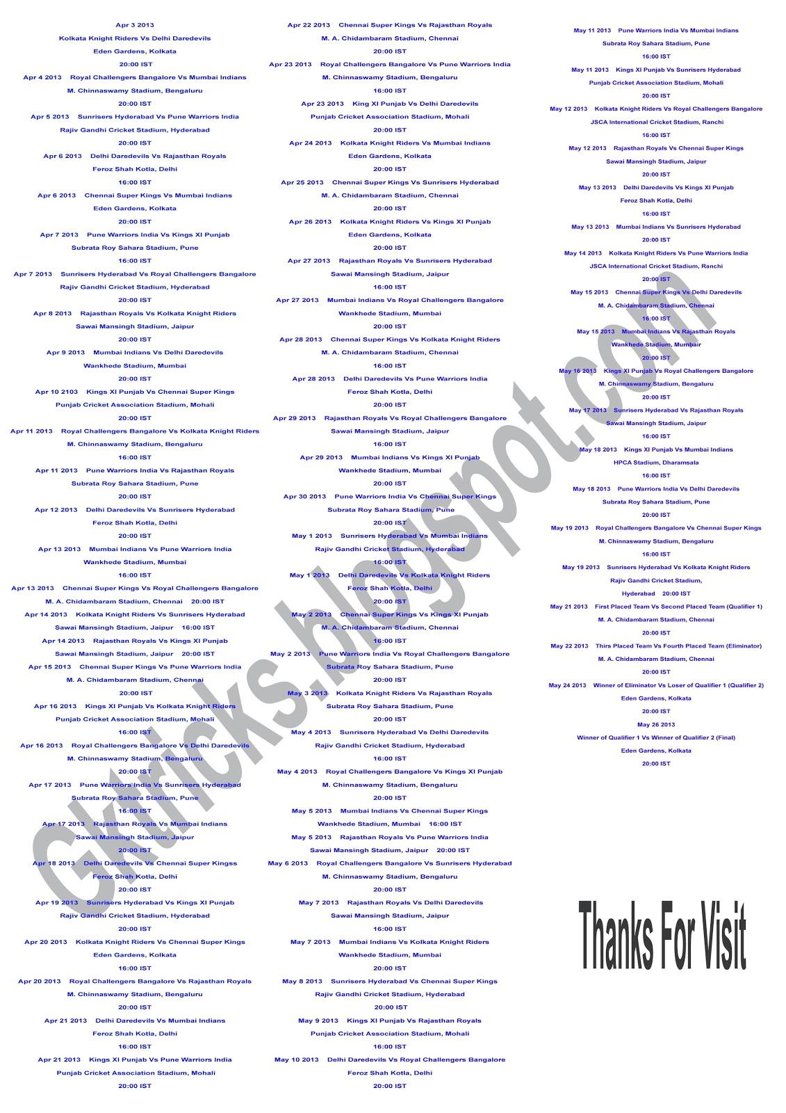 Ipl Match List Download | newhairstylesformen2014.com