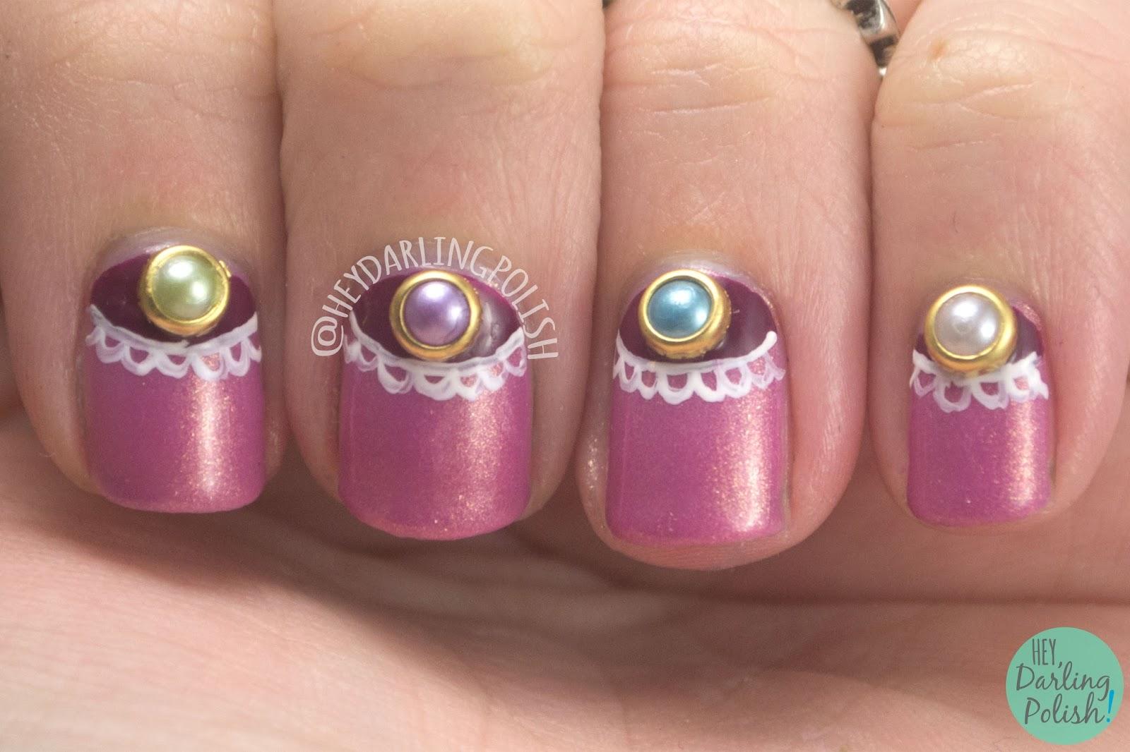 nails, nail art, nail polish, half moons, pearls, studs, born pretty store, hey darling polish, lace, free hand, review
