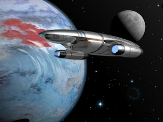 spaceship orbiting planet