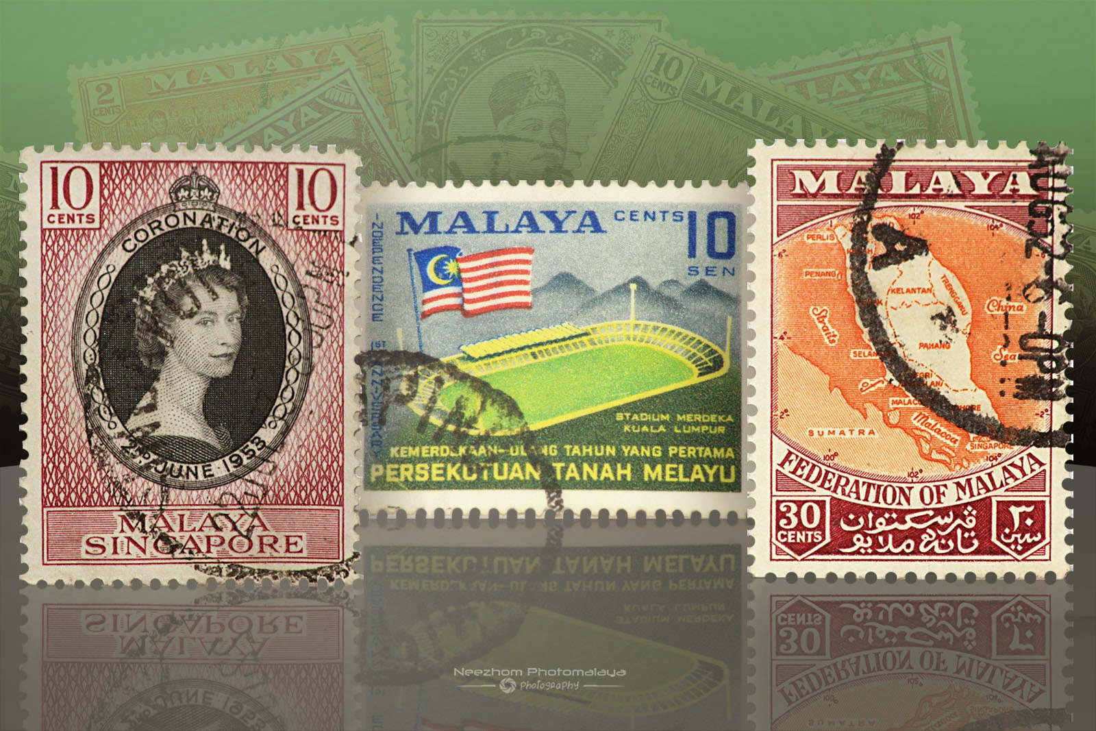 10 Cents Malaya Singapore Queen Elizabeth Coronation 1953, 10 Sen Ulang Tahun Pertama Merdeka 1958, 30 Cents Federation Of Malaya