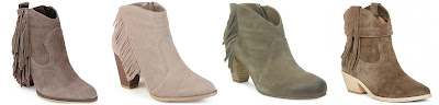 Booties from Joie, Steve Madden, brown and taupe fringe booties
