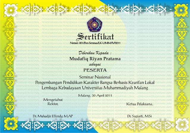 Berikut gambar penuh dari desain sertifikat seminar nasional