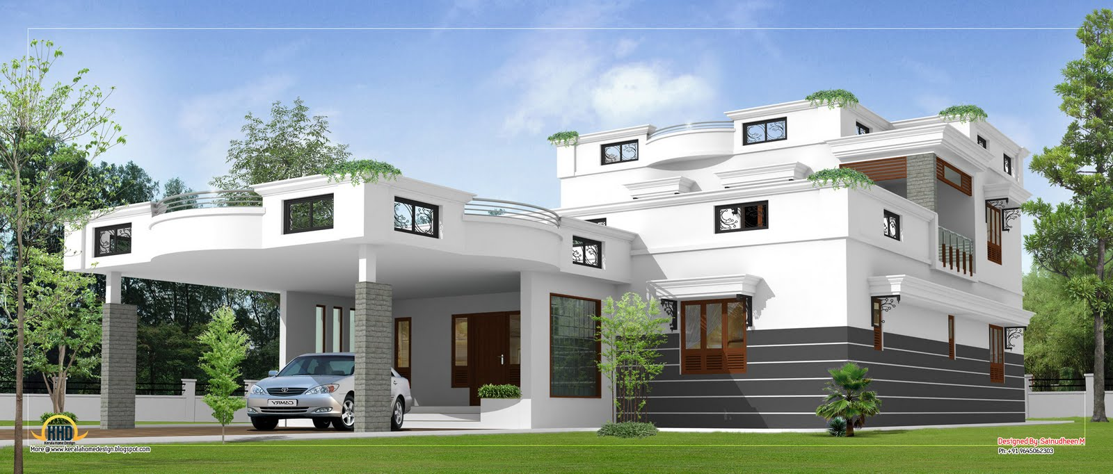 Contemporary home design 3360 sq ft kerala home New model contemporary house