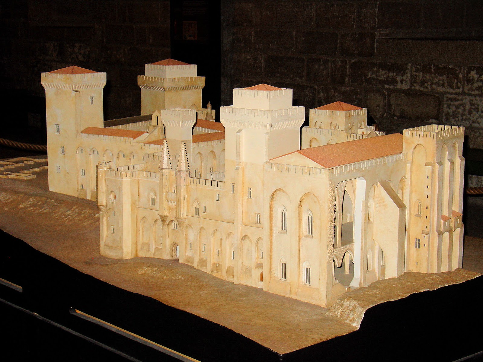 Scale model of the Palais des Papes, Palace of the Popes, in Avignon.
