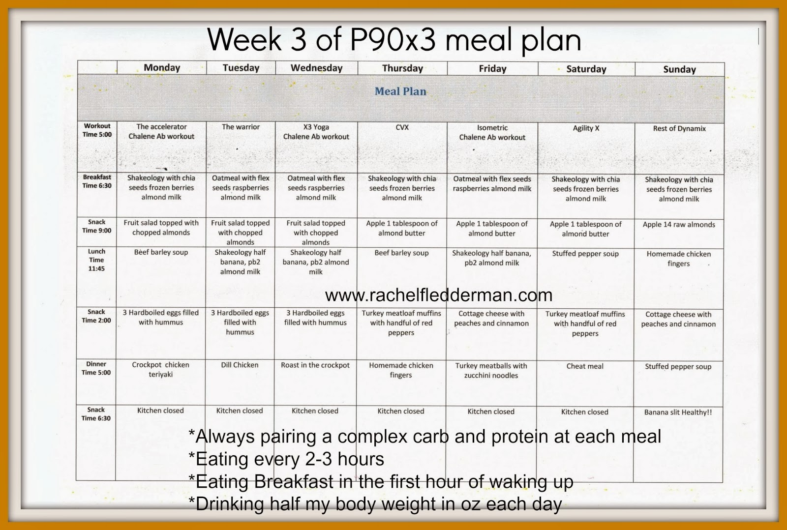 P90x3 Workout Schedule P90x3 week 2