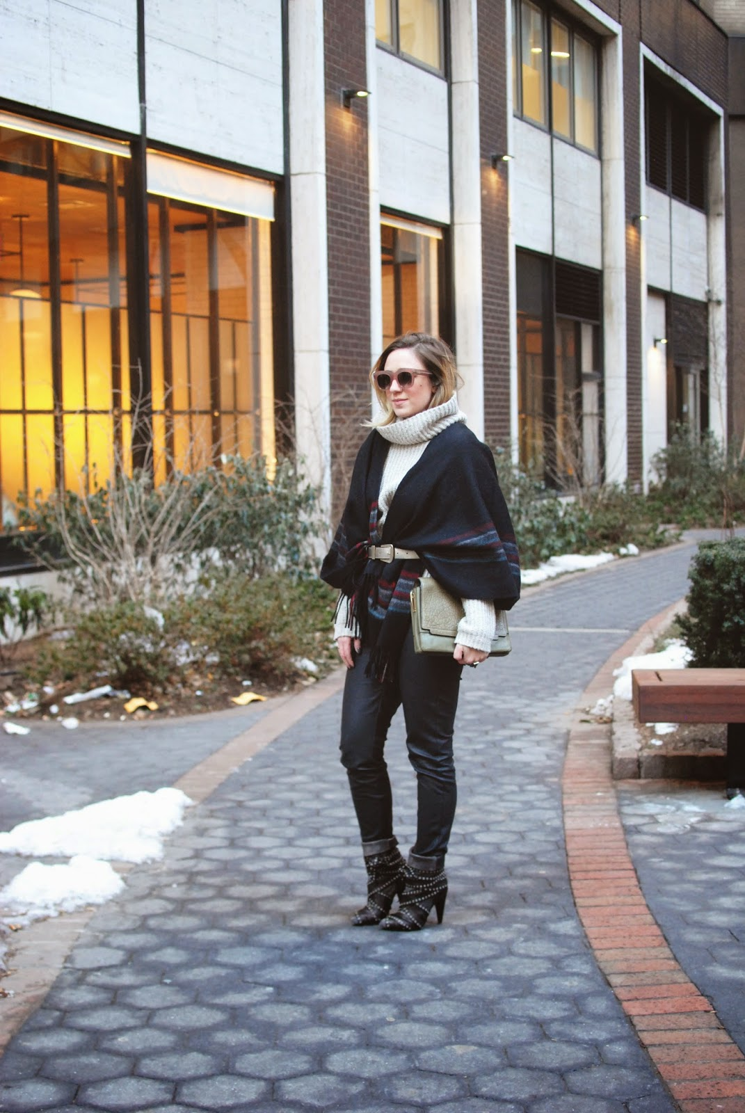 cape, fringe, sweater, poncho, leather, pants, isabel marant boots, outfit, style, celine sunglasses, green bag