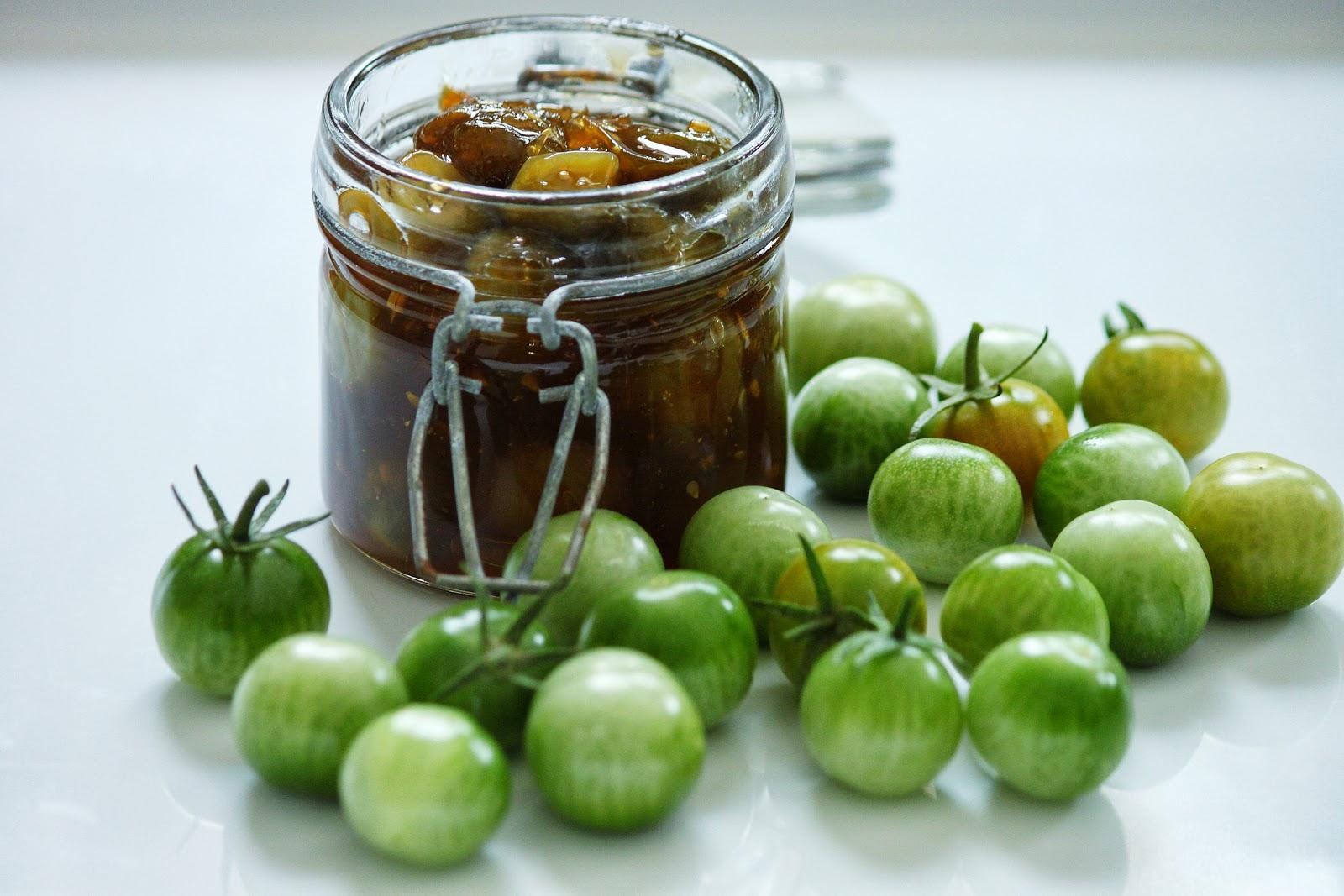 chutney de tomates cerises vertes au gingembre sof vous invite. Black Bedroom Furniture Sets. Home Design Ideas