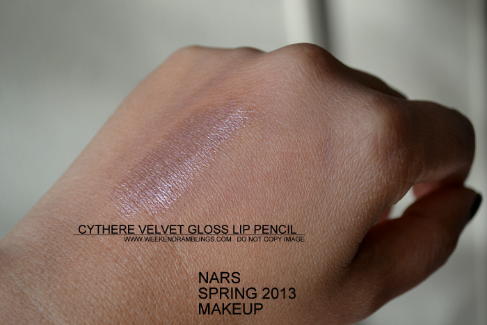 NARS Spring 2013 Makeup Collection Indian Beauty Blog Darker Skin Swatches Photos rose gold velvet lipgloss pencil cythere