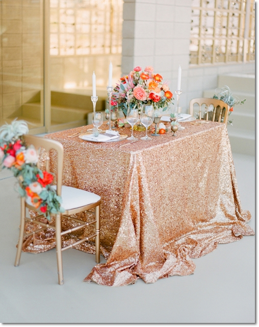 Glitter, glamour, orangeguld dukning, orange gold table setting