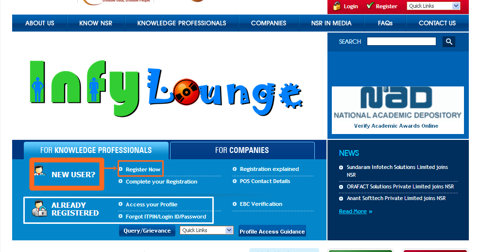 InfyLounge: InfyLounge Guide | NSR Registration Process