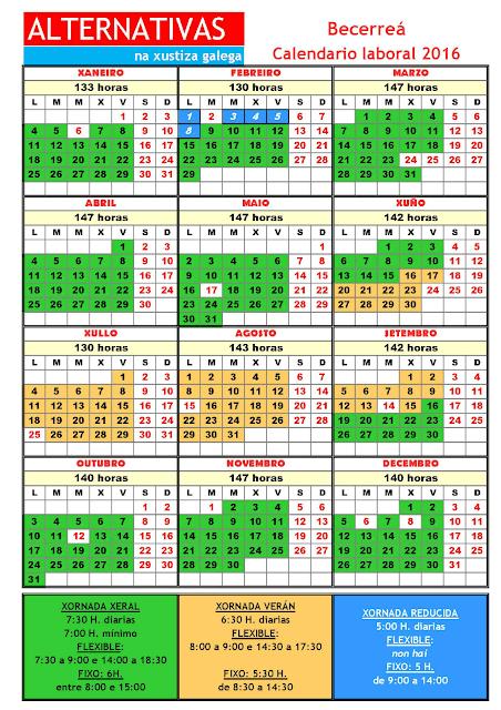 Becerreá. Calendario laboral 2016