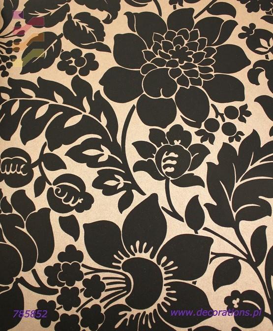tapeta w czarno kwiaty na złotym tle
