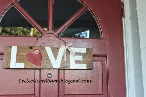 Eclectic Red Barn:  LOVE sign with ribbon added