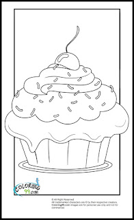 cupcake with cherry topper coloring pages