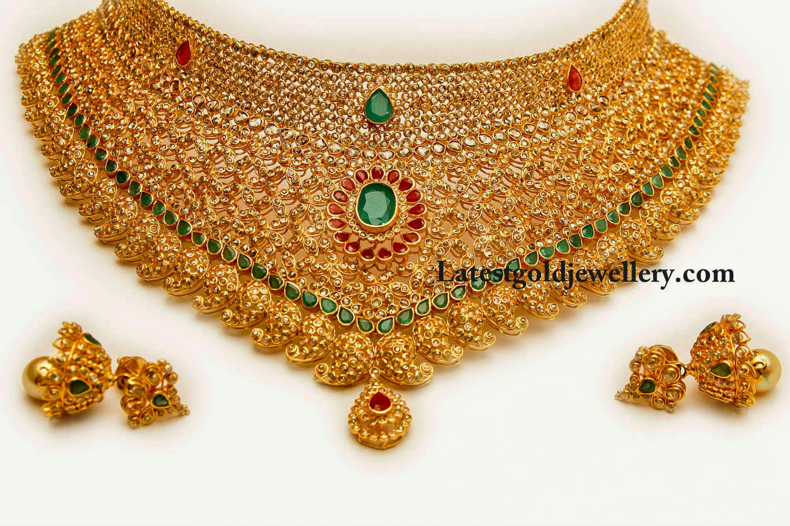 mango two paired embellished all polki gold designs studded step stones motifs with emeralds paisley jewellery heavy over theme bridal antique necklace floral