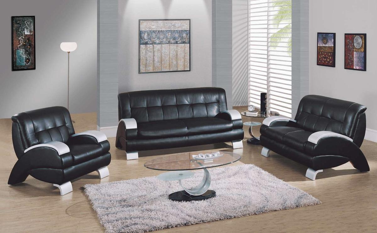 Cómo embellecer su Living Room con muebles de Cuero Negro : Diseño y ...