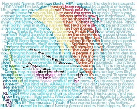 read closely to see almost everything about Rainbow Dash in she does and what she says ... her words