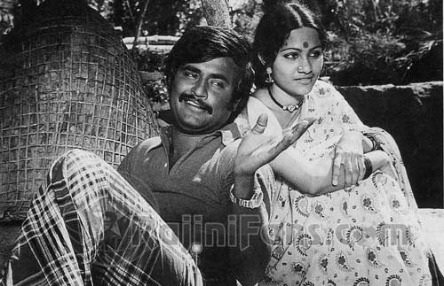 Rajinikanth & Shobha in 'Mullum Malarum' movie