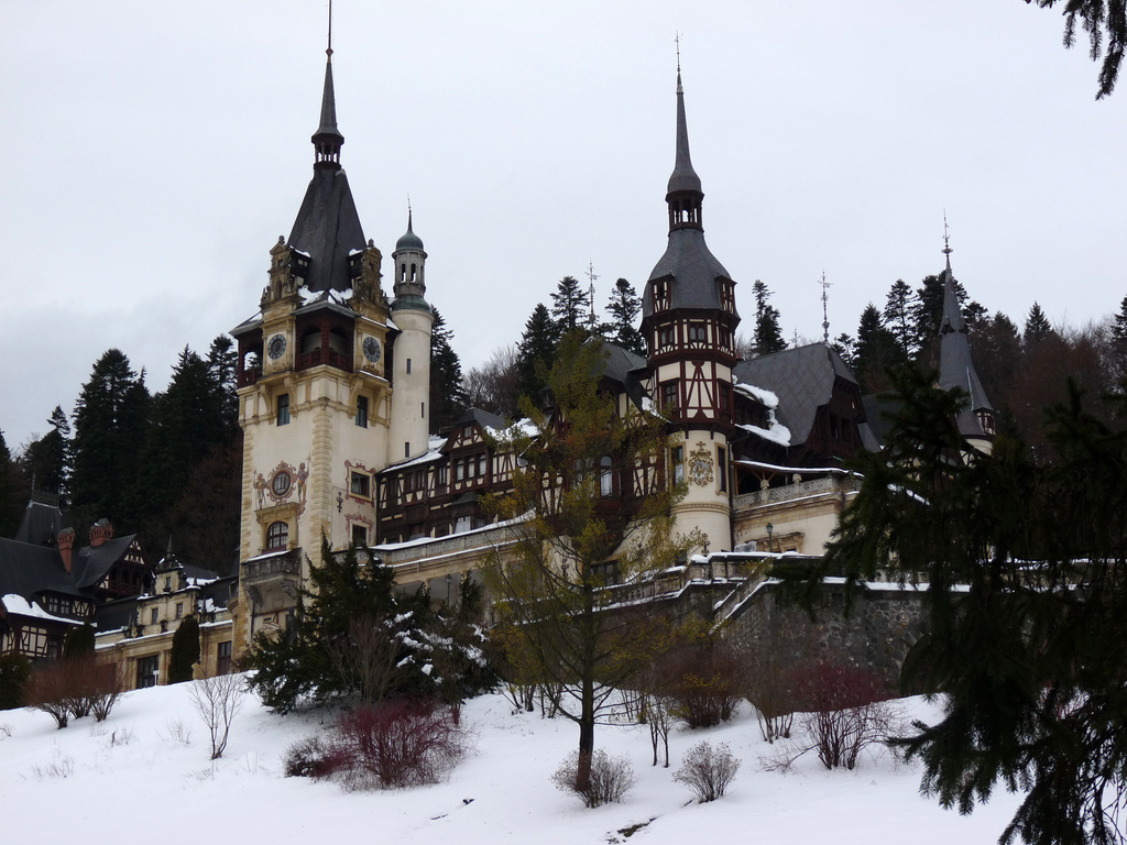 Peles Castle laden in snow. Photo: Rachel Titiriga.