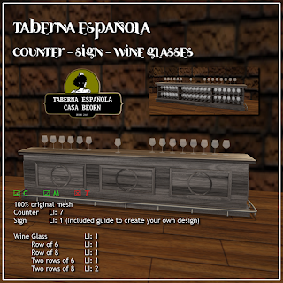 Taberna española: Counter, sign, wine glasses