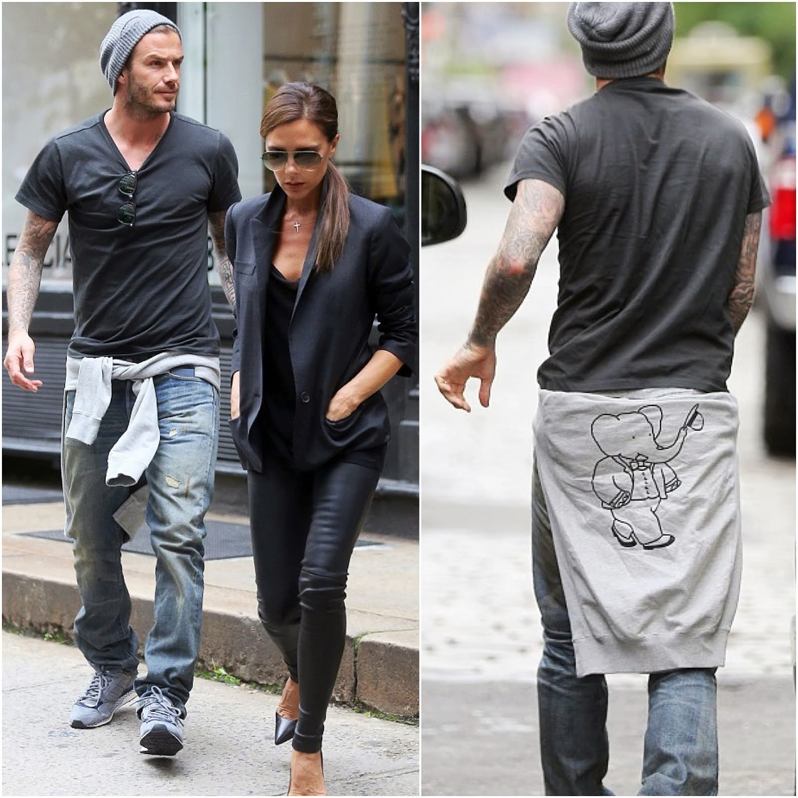 00O00 Menswear Blog: David And Victoria Beckham in New York June 2013 Soulland Babar Elephant sweatshirt sweater