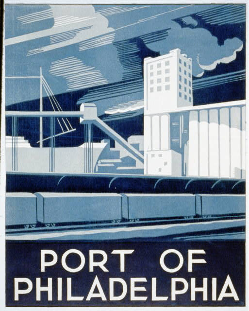 travel, travel posters, classic posters, free download, vintage, vintage posters, retro prints, philadelphia, Port of Philadelphia - Vintage Travel Poster