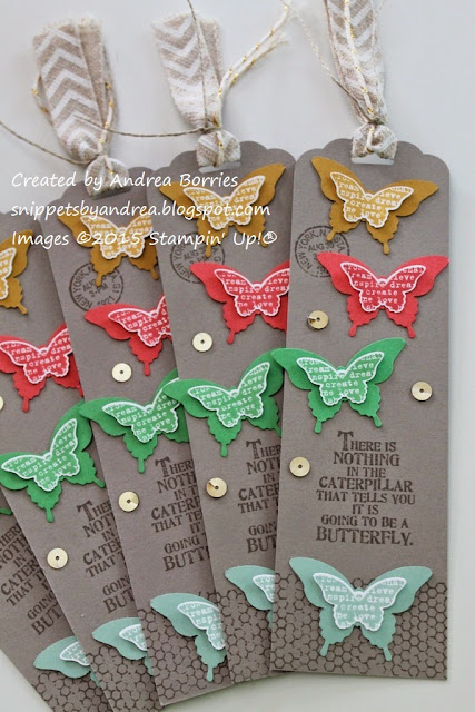 Bookmarks made with Butterfly Basics stamp set and the 2015-17 In Colors: Tip Top Taupe, Delightful Dijon, Watermelon Wonder, Cucumber Crush, and Mint Macaron.