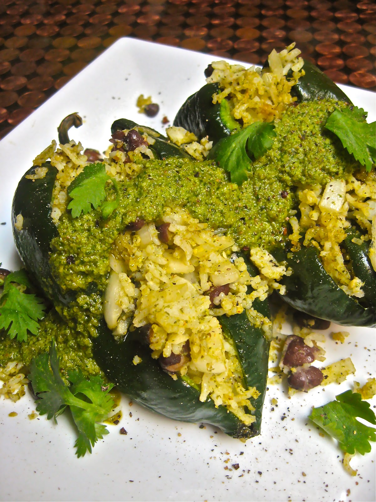 Justthefoode blog august 2012 spicy cilantro pepita pesto stuffed peppers forumfinder Choice Image