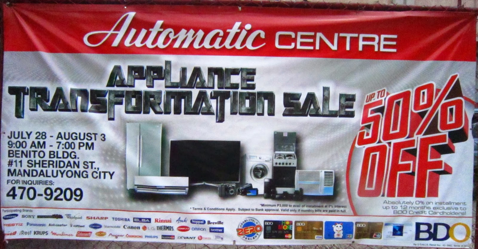 AUTOMATIC CENTRE APPLIANCE TRANSFORMATION SALE
