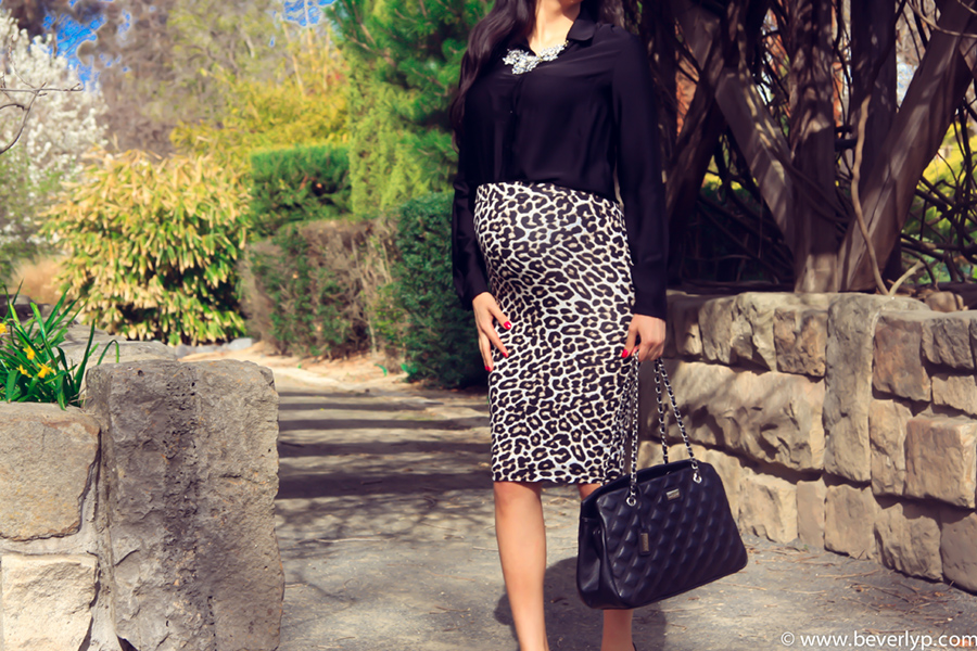 embarazada falda animal print