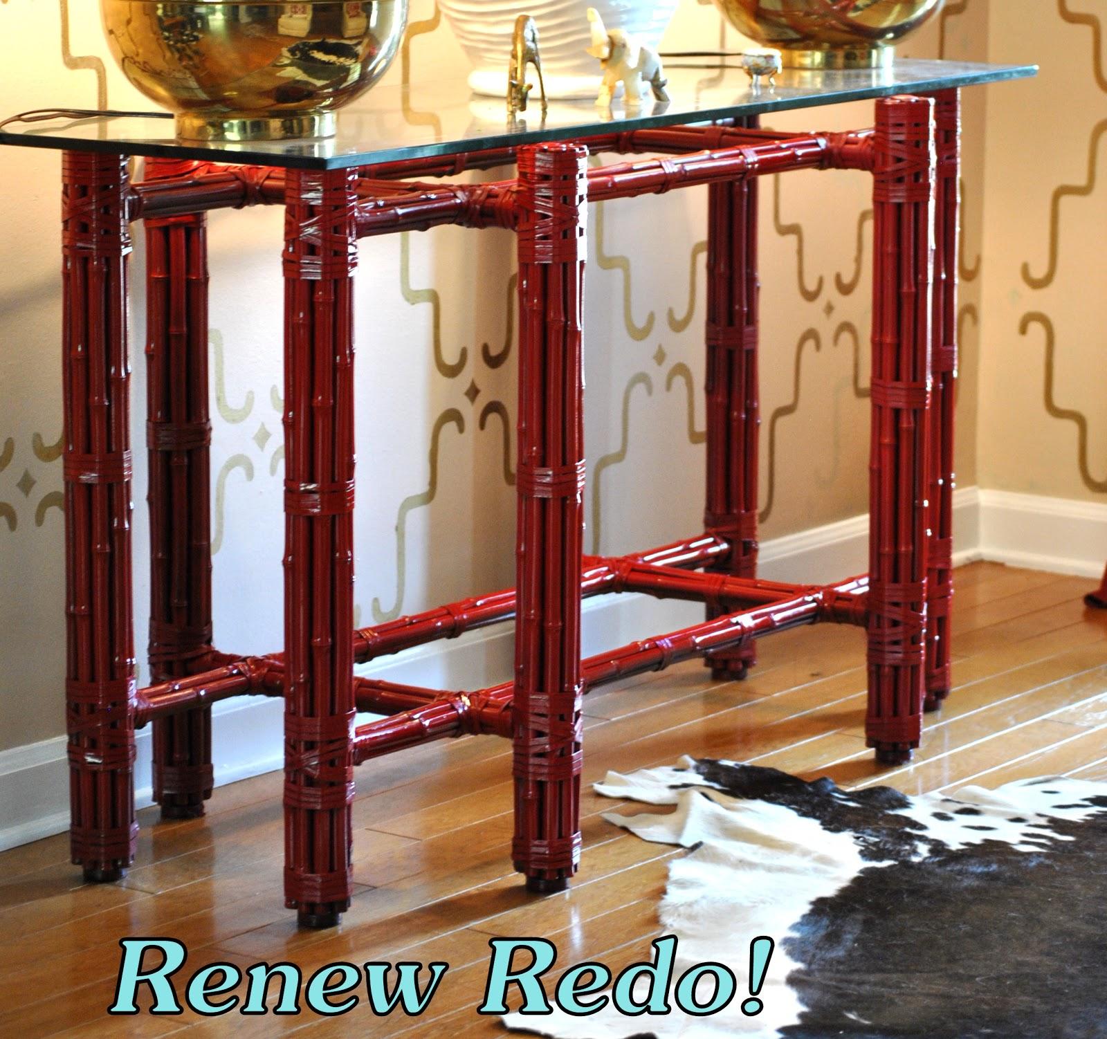renew redo high gloss red repurposed dining table