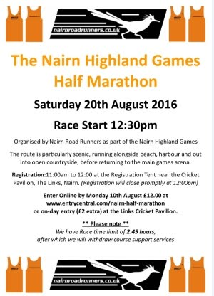 Nairn Road Runners half marathon Games Day 20th Aug