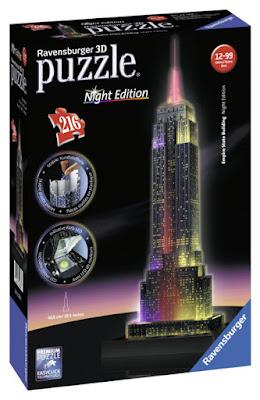 TOYS : JUGUETES - Ravensburger : Puzzle 3D  Empire State Building de noche : Night Edition   (LED de colores cambiantes ) Tamaño: 48.5 cm | Piezas: 216 | Edad: +12 años  Comprar en Amazon España
